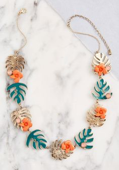 The matte pink rhinestones, orange flower accents, and green and gold fronds that detail this ModCloth-exclusive necklace recall the lush vibe of faraway. Cute Necklace, Rhinestone Necklace, Beaded Earrings, Beaded Jewelry, Beaded Necklaces, Jewellery, Trendy Jewelry, Unique Jewelry, Handmade Jewelry