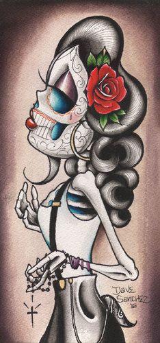 halloween tattoos Rosie Y Que by Dave Sanchez Canvas Giclee Tattoo Art Print Sugar Skull Cholo Art, Chicano Art, Arm Tattoo, Sleeve Tattoos, Tattoo Art, Cholo Tattoo, Rib Tattoos, Chicano Tattoos, Tattoo Small