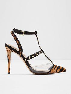Aldo Celadrielia Tiger Print Heeled Shoe - Black | littlewoodsireland.ie Aldo Heels, Shoes Heels, Mollie King, Baby Phat, Tiger Print, High Leg Boots, Long Toes, Black Shoes, Calves