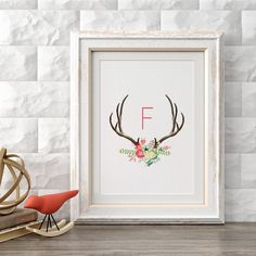Antler Initial F, Single-Letter Monogram, Printable Wall Art Prints and Posters, Modern Art, Digital Prints, Minimal,Typography, Home Decor by CompassionPrints on Etsy https://www.etsy.com/listing/269917219/antler-initial-f-single-letter-monogram
