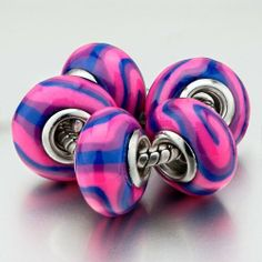 Pugster 5 Blue Pink Swirl Polymer Clay Beads Bracelets Fits Pandora Charm Bracelet Pugster. $42.99. Metal: polymer clay. Size (mm): 8.92*14.55*14.55. Weight (gram): 1.25. Color: blue, purple, pink