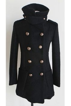 Double Breasted Notched Collar Wool-blend Coat