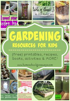 Gardening is a great way to teach kids in a practical way. Check out these {free} printables, activities, crafts, books, recipes and MORE!! :: www.homeschoolgiveaways.com