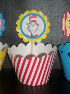 NEW 24 pc Cat in the Hat Cupcake Set Dr Seuss party by PartyTreats, $15.00