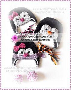 Cute PENGUIN Crochet Hat Earflap Pattern Size by AngelsChest, $6.99
