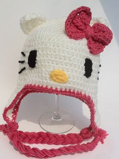 Hello Kitty Hat Earflap Crochet 6 mos to 3 by ConstantlyUnfolding, $18.00