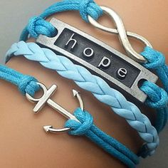 Price:$8.99 Material: Alloy Color: As picture Boat Anchor Hope 8 Pendant Blue Braid String Bracelet