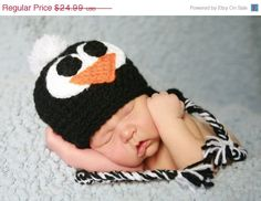 ON SALE 15 off Penguin Handmade Crochet Hat  Newborn by NattyHatty, $21.24