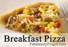 This is a great recipe for Breakfast, Brunch or dinner.  You can add any toppings you like!  http://fabulesslyfrugal.com/2012/09/breakfast-pizza.html