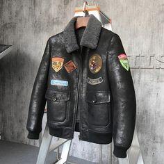 0c8799e63a 814.32 |Aliexpress.com: Acheter Veste fourrure homme veste courte cuir Mans  peau de mouton noir marron manteau fourrure aviateur agneaux fourrure ...