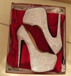 Gorgeous White Coppy Leather Amazing Rhinestone Platform High Heel Shoes