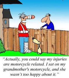 """#saturdayhumor  --------- """"Podríamos decir que mis lesiones se deben al motociclismo.  Me senté en la moto de mi abuela y no se puso muy contenta que digamos."""" #saturday #saturdaymorning #sabado #happysaturday #saturdayfun #saturdaysarefortheboys #grandma #bikergrandma #gothisasskicked #donttouchmybike #biker #bikersofinstagram #bikers #bikerlife #motorcycle #motorcycles #neighbors #funny #funnyshit #chiste #simplon #sabadito #sabaditoalegre #bikerhumor #weekend #weekendfun #disturbedculture…"""