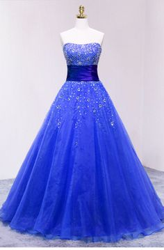 Blue Strapless Organza Long Prom Dress With Sweetheart Neckline Pretty Prom Dresses, Pretty Outfits, Cute Dresses, Beautiful Dresses, Girls Dresses, Formal Dresses, Wedding Dresses, Strapless Organza, Quince Dresses