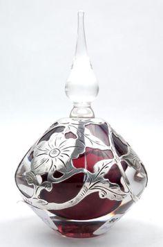 Signed Vandermark crystal and sterling silver perfume
