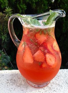 A thirst quenching, delicious, fragrant & healthy Strawberry Basil Lemonade recipe / cocktail, all you need on a hot summer day.