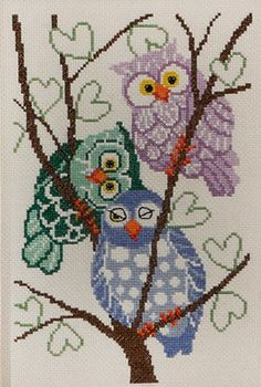 Owls - cross stitch kit by Permin of Copenhagen - Pastel coloured owls huddled together in a winter tree. Cross Stitch Owl, Cross Stitch Animals, Cross Stitch Charts, Cross Stitch Designs, Cross Stitching, Cross Stitch Patterns, Learn Embroidery, Cross Stitch Embroidery, Embroidery Patterns