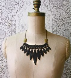 statement necklace lace collar necklace TRIBE by whiteowl on Etsy, $36.00