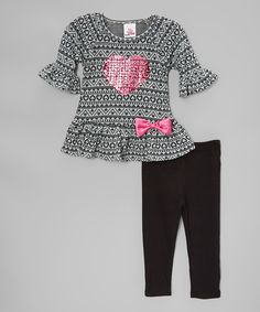 Gray Geometric Heart Top & Black Leggings - Toddler by Real Love #zulily #zulilyfinds