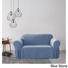 Sure Fit Cotton Duck Washable Loveseat Slipcover (Blue Stone / Loveseat)