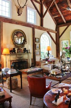 Tone on Tone: Visiting Bunny Williams + Giveaway! Bunny William's barn room, photo by Henhurst Interiors