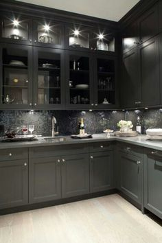 Open face lit cabinets (but maybe in lighter color)