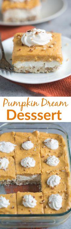 Pumpkin Dream Dessert is a layered pudding dessert with a soft shortbread crust…