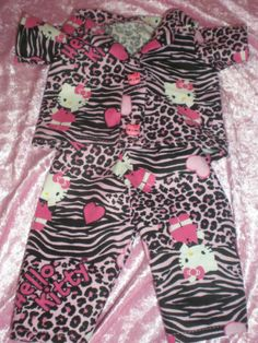 CLOTHES FOR  BITTY BABY / AMERICAN GRIL  BLK. & PINK LEOPARD  HELLO KITTY PJ'S