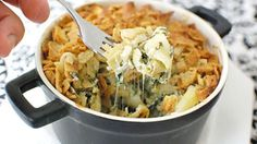 Combine spinach and artichoke dip with creamy mac and cheese for the ultimate comfort food.