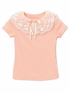 Mae Li Rose Peach Short Sleeve Top w/ Lace Collar