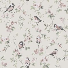 Falsterbo Birds by Boråstapeter - Pink, Green and White - Wallpaper : Wallpaper Direct Botanical Wallpaper, Bird Wallpaper, Embossed Wallpaper, Wallpaper Panels, Home Wallpaper, Wallpaper Roll, Pattern Wallpaper, Luxury Wallpaper, Designer Wallpaper