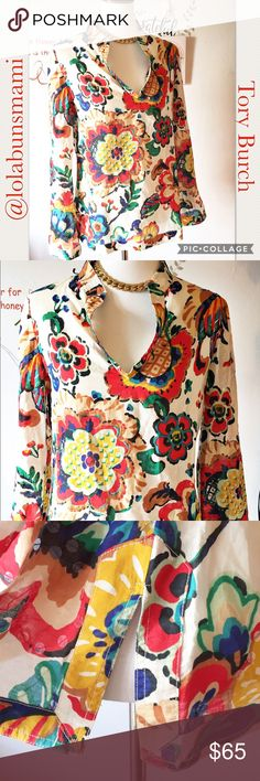 """Tory Burch Split Sleeve Embroidered Blouse So cute! Great condition! No rips or stains. Sleeves are 25 """". Shoulder to Shoulder is 17"""". Armpit to armpit is 21"""". Sleeves are split at the bottom also split on sides of shirt at the bottom. Tory Burch Tops Blouses"""