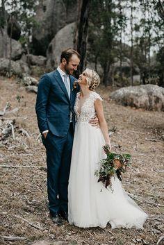 PENNY + MATT // #wedding #bride #groom #flowers #bouquet #dress #bridalgown #suit #nature #rustic