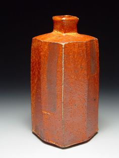 Lisa Hammond - Red shino faceted bottle with square neck