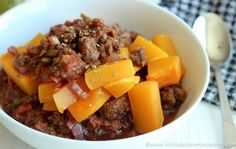 Bacon, Bison and Butternut Squash Chili #paleo