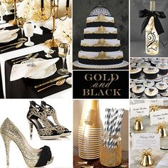 Gold and Black Wedding Colors - For a formal or semi-formal wedding  Gold with Black creates a really gorgeous wedding palette.
