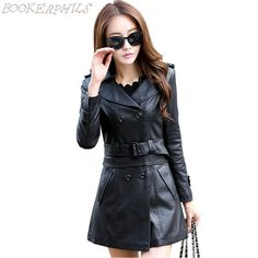 Cheapest prices US $38.50  Women Fur Collar Leather Jacket 2017 New Fashion Slim Dual Use Removable Ladies Long Faux  Leather Trench Coat Female Outwear  . Search here: Leather Biker Jacket.