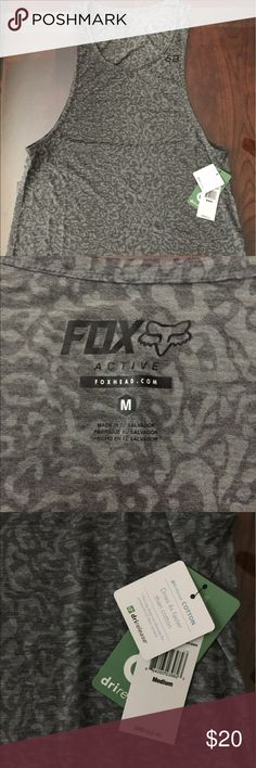 Fox Active Tank Top New with tags-beautiful gray print Drirelease  - dries 4x faster  85% Polyester  15% Cotton Size: Medium  Length from shoulder to bottom: 28 inches Arm opening 16 inches Fox Tops Tank Tops