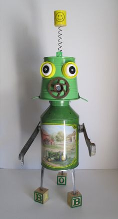 BILLY BOB  Found object robot sculptureassemblage by YNOTart
