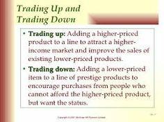 Trading up en trading down strategie is een assortimentsstratie. Bij trading up wordt het assortiment verrijkt met een duurder product om de consument met een hoger inkomen aan te spreken. Bij trading down wordt het assortiment verrijkt met een product met een lagere prijs om zo de consument met een lager inkomen aan te spreken.