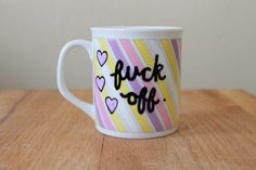 cute vintage pastel striped fuck off teacup funny mean mug purple hearts by astraychalet