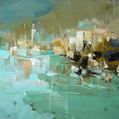 Biography and images of artist Hervé Lenouvel, featured at the East West Fine Art gallery in Naples, Florida. Landscape Art Lessons, Landscape Artwork, Watercolor Paintings Abstract, Seascape Paintings, Oil Paintings, Painting Art, Modern Art Paintings, Indian Paintings, Abstract City