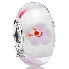 Bijoux Charms Pandora Argent 925 Fleur de Cerisier Verre de Murano 790947