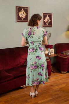Vintage 1940s Dress Aqua Blue and Purple Cotton door FabGabs