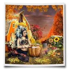All About my Fall Fairy by craftygeminicreation on Polyvore featuring #art #expression #fall #fairy #autumn #native #pumpkin #barn #hayloft #owl #sunflowers #logpile #carving