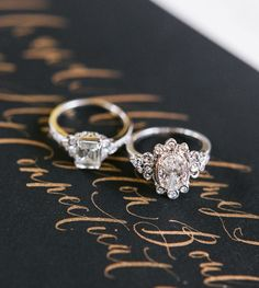 Gorgeous diamond engagement rings by Claire Pettibone for Trumpet & Horn // photo by Rebecca Yale