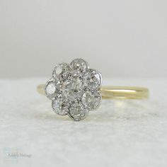 Antique Daisy Diamond Engagement Ring. Flower Cluster Ring with Old Mine Cut Diamonds.