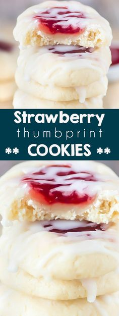 Strawberry Thumbprint Cookies - The BEST Christmas cookie recipe. These Strawberry cookies are filled with strawberry jam in a vanilla almond cookie. A traditional stuffed drop cookie with glaze for a holiday cookie tray. Strawberry Thumbprint Cookies I stuffed cookies I Christmas Cookies I classic holiday cookie recipes #christmascookies #cookieswap #cookierecipes