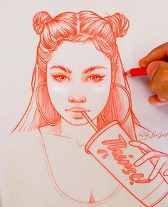 Elegant pulse: the red drawings by Rik Lee. Elegant pulse: the red drawings by Rik Lee. Girl Drawing Sketches, Cool Art Drawings, Pencil Art Drawings, Easy Drawings, Tumblr Sketches, Doodle Drawings, Cartoon Kunst, Cartoon Art, Rik Lee