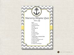 Nautical Nursery Rhyme Quiz Baby Shower by OakCityPaperCompany