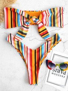 Style: Fashion Swimwear Type: Bikini Bikini Type: Bandeau Bikini Gender: For Women Material: Polyester Bra Style: Padded Support Type: Wire Free Collar-line: Strapless Pattern Type: Striped Waist: Natural Bikini Sexy, Bralette Bikini, Bikini Swimwear, Swimsuits, Bikini Girls, Swimwear Fashion, Bikini Fashion, Bikini Types, Zaful Bikinis